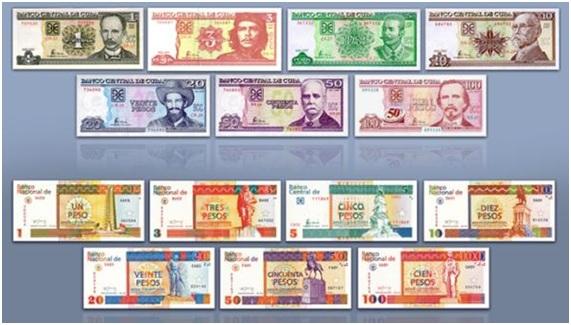 Imagens das notas de Pesos Cubanos e Pesos Conversíveis