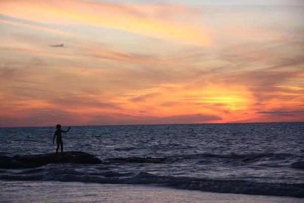 Por do Sol na praia de Holbox