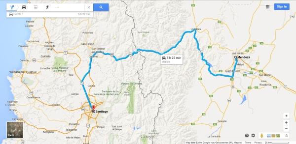 Mapa Mendoza Santiago