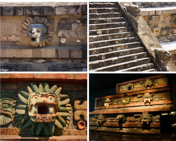 Pirâmide da Serpente Emplumada. Acima em Teotihuacan. Abaixo na reprodução do Museu de Arqueologia da Cidade do México.